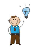 Idea man. Vector hand drawn cartoon caracter with great idea Royalty Free Stock Images