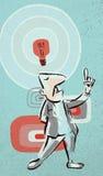 Idea Man. Painterly styled retro 1960s illustration of man with idea lightbulb Stock Images