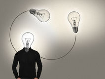 Idea Man. Bulb-head man,electric,light,glow,cable Royalty Free Stock Images