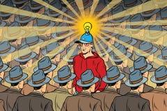 Idea man in dull crowd. Pop art retro vector illustration Royalty Free Stock Photo