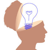 Idea man light bulb drawing in open mind Stock Image