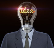 Idea man. Light bulb with a filament in the form of the word idea Royalty Free Stock Photo