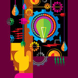 Idea in man mind and gears royalty free illustration