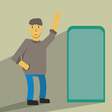 Idea man. People near the idea of advertising signage Royalty Free Stock Images