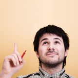 Idea. Man pointing up. Copyspace Royalty Free Stock Photography