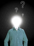 Idea Man Questions. A lightbulb headed figure with question marks hovering above his head Stock Illustration