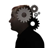 Idea Man on White with Gears. A man\'s head is filled with gears on a white isolated background. Use it for a education, idea or technology concept Stock Images