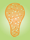 Idea Maze. Illustration of a complex maze of ideas in a light bulb shaped outline Stock Images