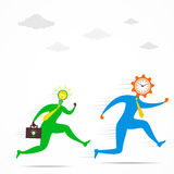Idea men run for time concept Royalty Free Stock Images
