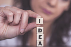 Idea message formed with wooden blocks Royalty Free Stock Photos
