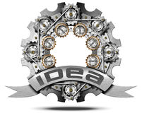 Idea - Metal Icon with Gears Stock Image