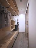 Idea of minimalist walk-in wardrobe Stock Images