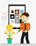 Idea mobile di partenza di app Giovane rappresentazione dell'uomo d'affari Fotografie Stock