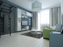 Idea of modern lounge with wall bars Royalty Free Stock Image