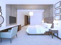 Idea of modern master bedroom Stock Photos