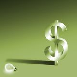 Idea money concept. Idea and Money on green background Stock Photos