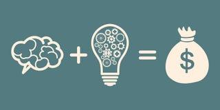 Idea is money concept. Brain + idea = money Stock Photography