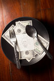 Idea and money on dish, Stock Photography