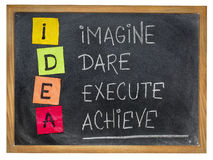 Idea - motivation concept. Idea acronym (imagine, dare, execute,achieve) - motivation concept - colorful sticky notes and chalk handwriting on a blackboard Stock Image