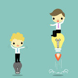 Idea for moving. One businessman with bright  lightbulb move faster than who stand on off lightbulb Royalty Free Stock Photo