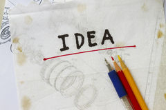 Idea on napkin. List down your ideas in the napkin abstract Royalty Free Stock Image