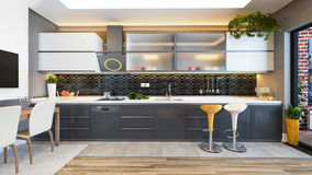Idea nera della decorazione di progettazione della cucina Fotografie Stock