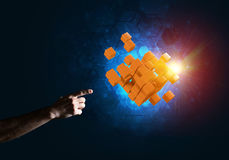 Idea of new technologies and integration presented by cube figure Royalty Free Stock Image