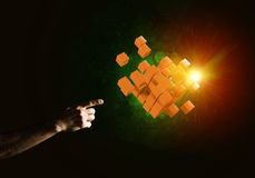 Idea of new technologies and integration presented by cube figure. Close of man hand holding cube figure as symbol of innovation. Mixed media Stock Images