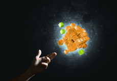 Idea of new technologies and integration presented by cube figure Stock Image
