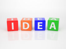 Idea out of multicolored Letter Dices Royalty Free Stock Photos