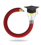 Idea pencil with Graduation cap. Royalty Free Stock Photo