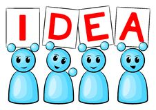 Idea people. Symbolic figures holding up signs saying: Idea vector illustration
