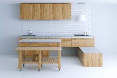 Idea perfecta para el diseño interior de la cocina con muebles de madera imagen de archivo
