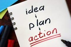 Idea, piano, concetto di azione fotografia stock libera da diritti