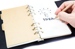 Idea picture. Close up of Human hand drawing a idea picture and word royalty free stock photos