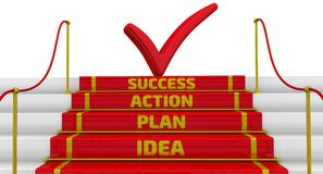 Idea, plan, action, success. The inscription on the steps. Business strategy: idea, plan, action, success. Stairs with a red carpet and fencing posts. 3D Royalty Free Stock Photo