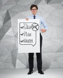 Idea, Plan and Money. Businessman holding placard with drawing; Idea, Plan and Money royalty free stock image