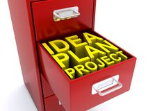 Idea plan project in drawer Royalty Free Stock Images
