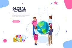 Idea plana de los trabajadores del mundo que hace frente a vector isométrico libre illustration