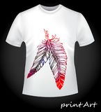 Art sketch protective mascot feathers on a T-shirt Royalty Free Stock Images