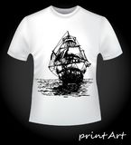 Ship on the T-shirt. The idea for a print on a man`s T-shirt is a ship, close-up. Creative, fashionable print on clothes vector illustration