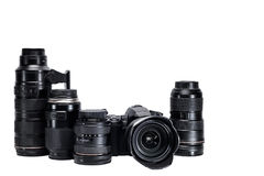 The idea of a professional photographer with  white background accessories Stock Photos