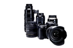 The idea of a professional photographer with  white background accessories Royalty Free Stock Photo