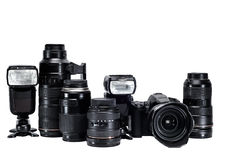 The idea of a professional photographer with  white background accessories Stock Photography