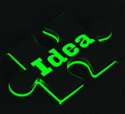 Idea Puzzle Showing Innovation And Inventions. Idea Glowing Puzzle Showing Innovation, Inventions And Creativity Stock Photography