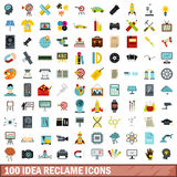 100 idea reclame icons set, flat style. 100 idea reclame icons set in flat style for any design vector illustration Royalty Free Stock Image
