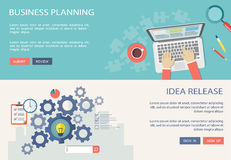 Idea release and business planning flat banners with icons Royalty Free Stock Photos