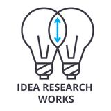 Idea research works thin line icon, sign, symbol, illustation, linear concept, vector. Idea research works thin line icon, sign, symbol, illustation, linear Royalty Free Stock Photo
