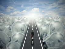 Idea road creative path business landscape of light bulbs Stock Photography