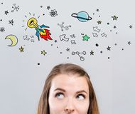 Idea rocket with young woman royalty free stock photography